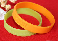 2mm Thickness Custom Silicone Rubber Wristbands Color Filled Logo Process