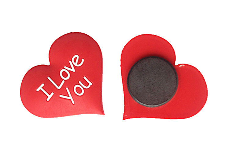 Vivid 3D Effect Personalized Fridge Magnets Heart Shaped No Toxic Top Materials