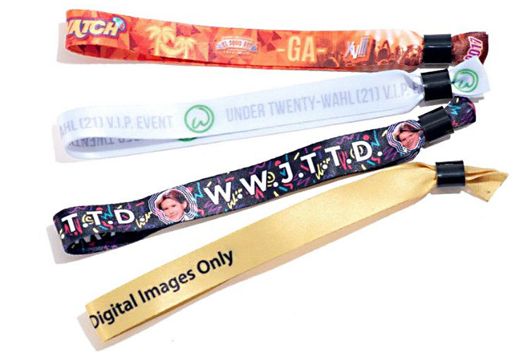 Delicate Patterns Fabric Festival Wristbands Polyester Stylish Promotional Items