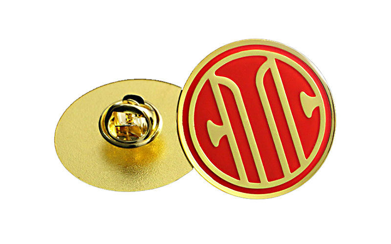 Circular Antique Gold Custom Metal Pin Badges Injected Logos Designed