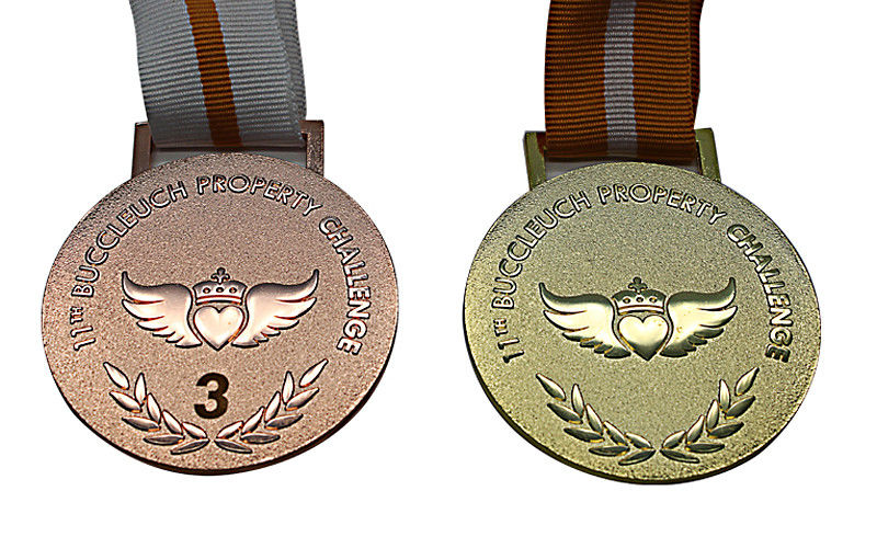 Raised Logo Metal Award Medals Exquisitely Designed With Printed Lanyard