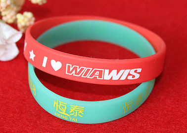 China Soft Feeling Printed Silicone Wristbands , Promotional Rubber Wristbands SGS Compliant factory