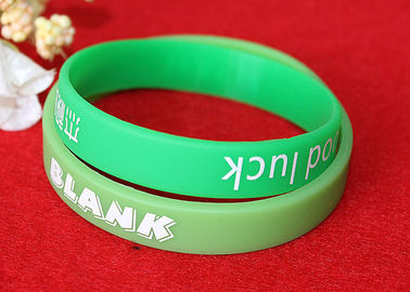 China Washable Imprinted Rubber Bracelets , Personalized Silicone Wristbands Non Toxic factory