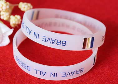 China Half Transparent Rubber Wrist Bracelets 180mm Perimeter Embossed Technique distributor