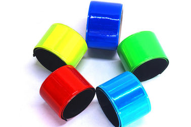 China Non Toxic PVC Reflective Slap Bracelets Comfortable Fit With Free Carrying Pouch distributor