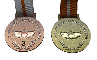 China Raised Logo Metal Award Medals Exquisitely Designed With Printed Lanyard distributor