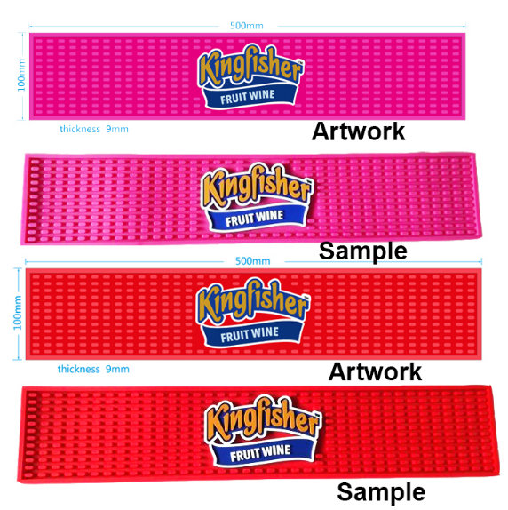 Long Strip Bar Counter Rubber Mats Customized Design Pattern 1cm Thickness