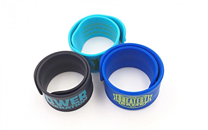 Christmas Gift Silicone Slap Wristband Full Color Printing For Unisex Children